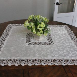 NEW Tablecloth PEARL LACE LEAVES Jacquard, Square